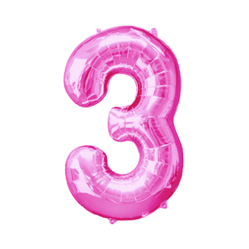 """Шар фольгированный 16"""" Цифра 3, индивидуальная упаковка, цвет розовый"""
