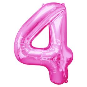"""Шар фольгированный 16"""" Цифра 4, индивидуальная упаковка, цвет розовый"""