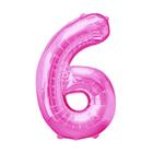 """Шар фольгированный 16"""", цифра 6, индивидуальная упаковка, цвет розовый"""