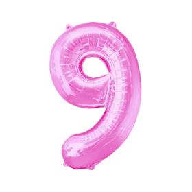 """Шар фольгированный 16"""", цифра 9, индивидуальная упаковка, цвет розовый"""