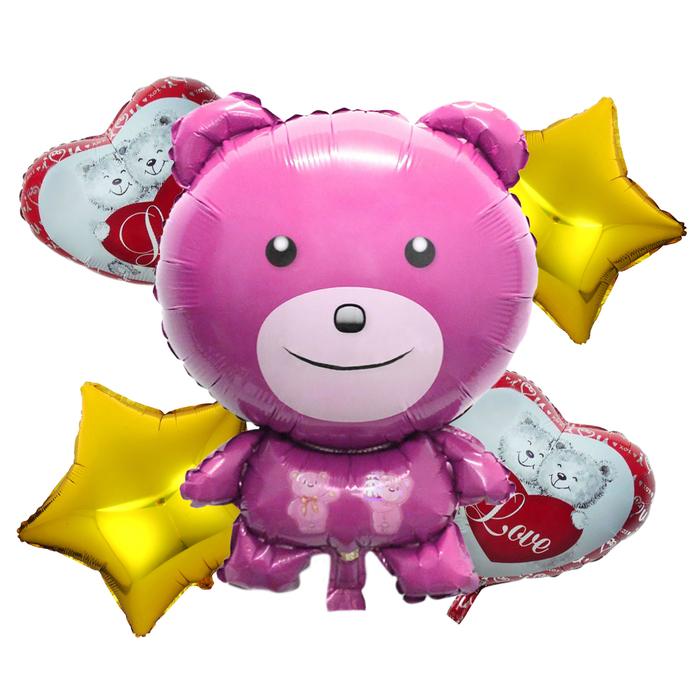 """Букет из шаров """"Любовь"""", мишка, фольга, набор из 5 шт."""