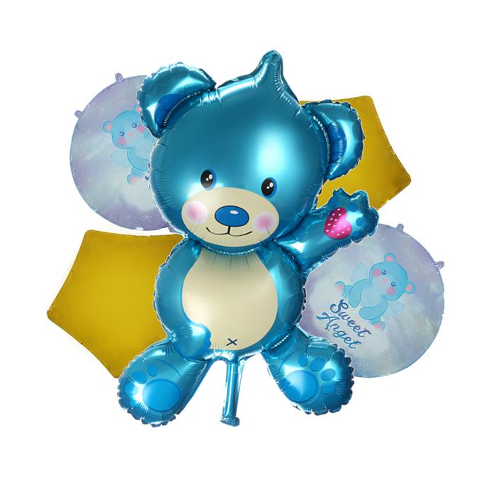 Букет из шаров  Медвежонок , голубой, фольга, набор из 5 шт.