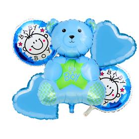 Букет из шаров 'С рождением малыша', мишка, фольга, набор из 5 шт. Ош