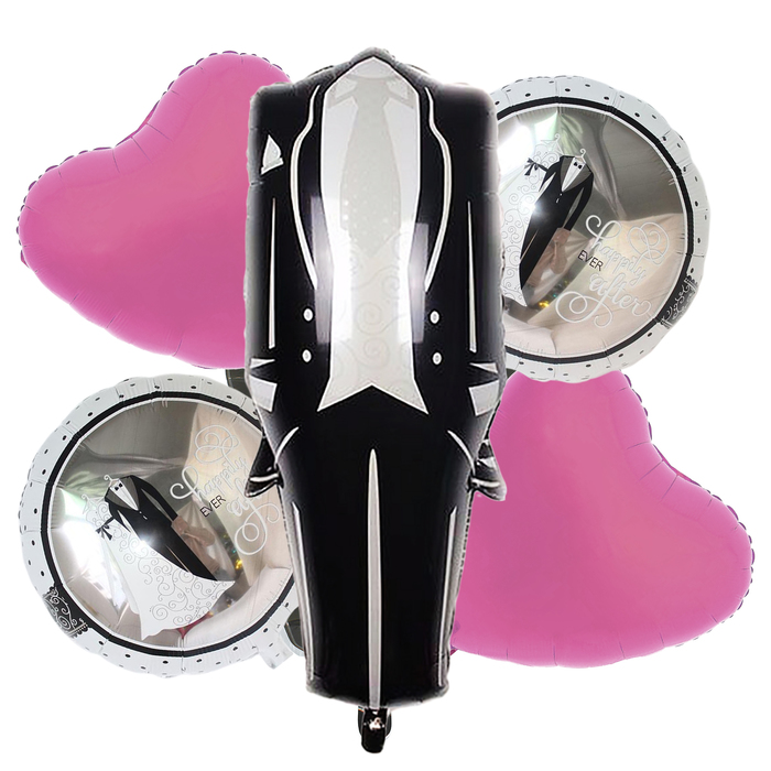 """Букет из шаров """"Свадебный"""", черный фрак, фольга, набор из 5 шт. - фото 308473292"""