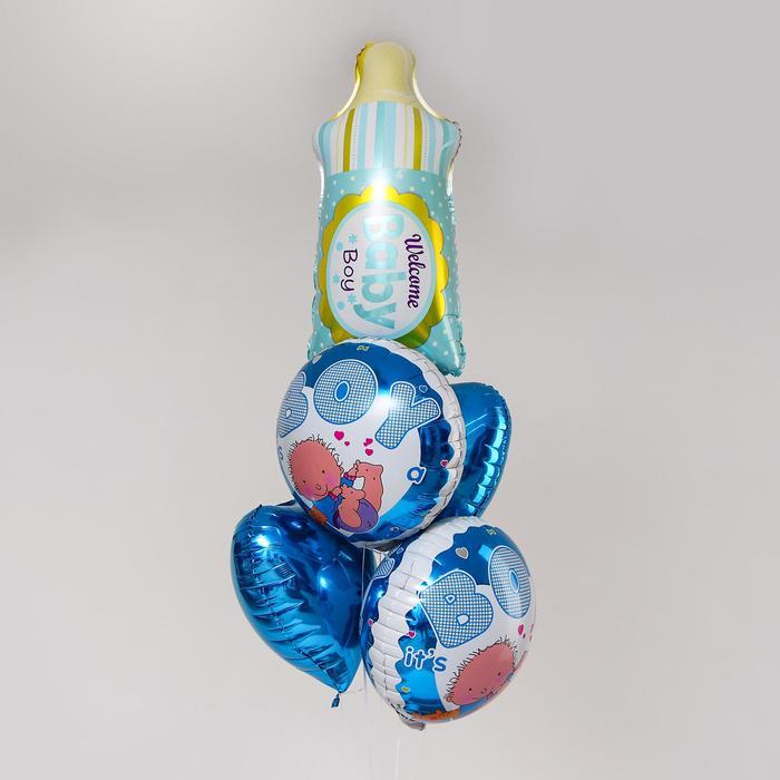 """Букет из шаров """"Бутылочка"""",  фольга, набор из 5 шт, цвет голубой - фото 957513"""