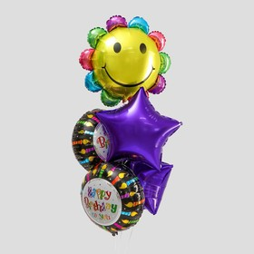 "A bouquet of balloons ""happy birthday"", chamomile, foil, set of 5 PCs."