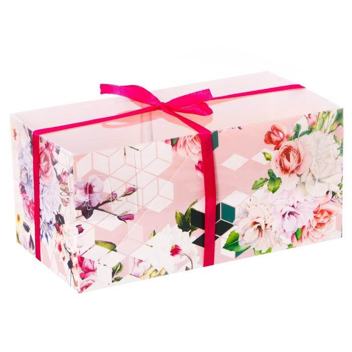 Коробка для капкейка с PVC-крышкой «Шарм», 8 × 16 × 7,5 см