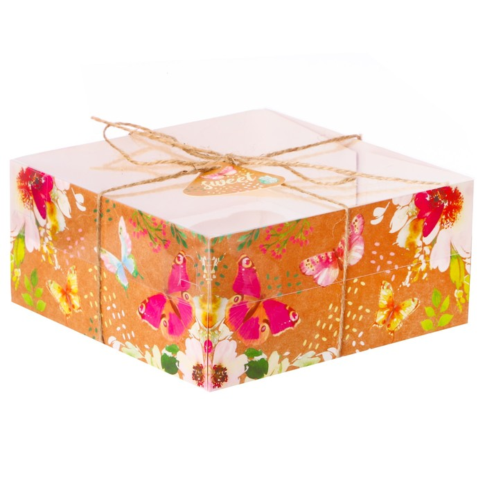 Коробка для капкейка «Бабочки», 16 × 16 × 7,5 см
