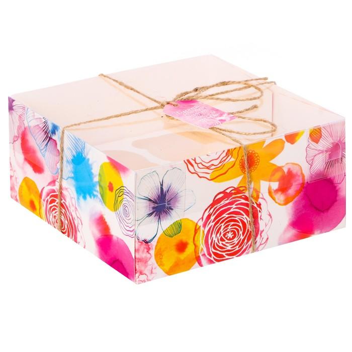 Коробка для капкейка «Вкусные радости», 16 × 16 × 7,5 см