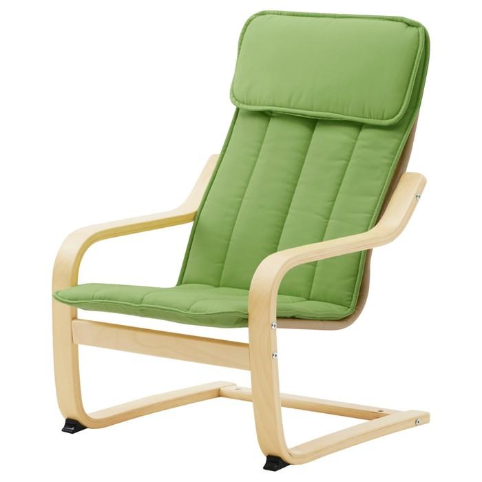 Кресло детское ПОЭНГ, березовый шпон, алмос зеленый