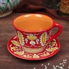 Чайная пара 0,1л (тарелка 10см, чашка 7,5см) красная