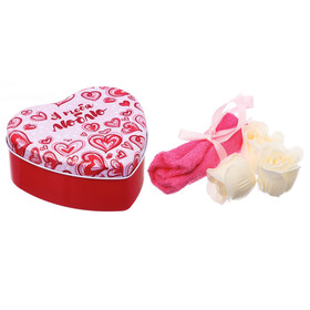 """Набор """"Я тебя люблю"""": 5 мыльных лепестков и полотенце в шкатулке"""