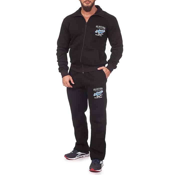 Костюм мужской (толстовка, брюки), цвет чёрный, размер 44-46 (M)