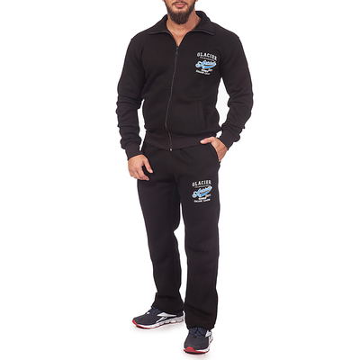 Костюм спортивный мужской (толстовка, брюки) 1903 цвет чёрный, р-р 54-56 (3XL)