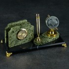 "Business card holder ""the Coil"": the pen holder, clock, globe"