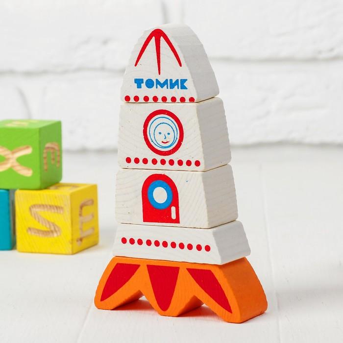 Деревянная пирамидка безосевая «Ракета» Томик