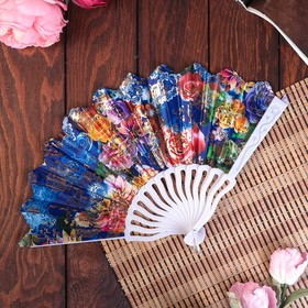 """Fan plastic h=23 cm """"Flowers"""" with gold MIX"""