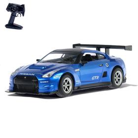 Машина радиоуправляемая Nissan GT-R, масштаб 1:16, работает от аккумулятора, свет, цвет синий