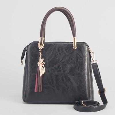 Сумка женская на молнии, 3 отдела, наружный карман, длинный ремень, цвет чёрный