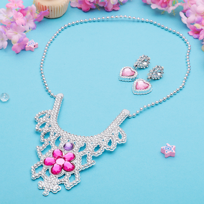 "Children set ""Vibracula"" 2 items: clips, necklace, Princess, heart with flower, MIX color"