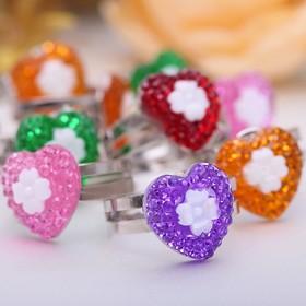 Кольцо детское 'Выбражулька' сердце с цветочком, безразмерное, цвет МИКС Ош