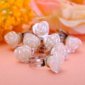 Кольцо детское 'Выбражулька' роза чудесная, безразмерное, цвет белый Ош