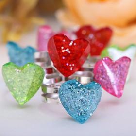 Кольцо детское 'Выбражулька' сердечко блестящее, безразмерное, цвет МИКС Ош