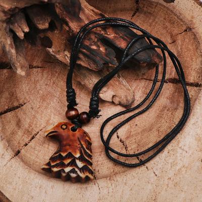 """Кулон мужской """"Орёл"""" дикий длина 40-80см регулир-я, цвет коричнево-чёрный"""