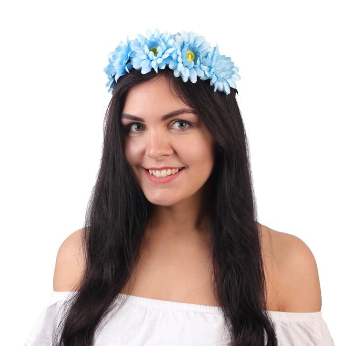 """Гавайский ободок """"Цветы"""", цвет синий"""
