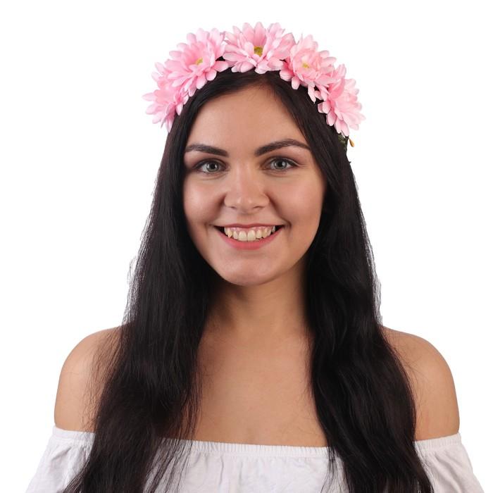 """Гавайский ободок """"Цветы"""", цвет розовый"""