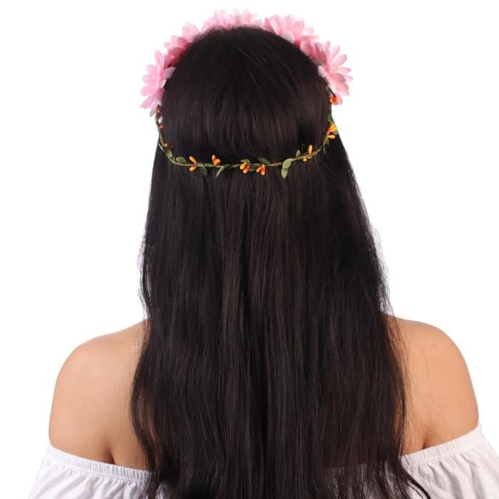 """Гавайский ободок """"Цветы"""", цвет розовый - фото 438288596"""