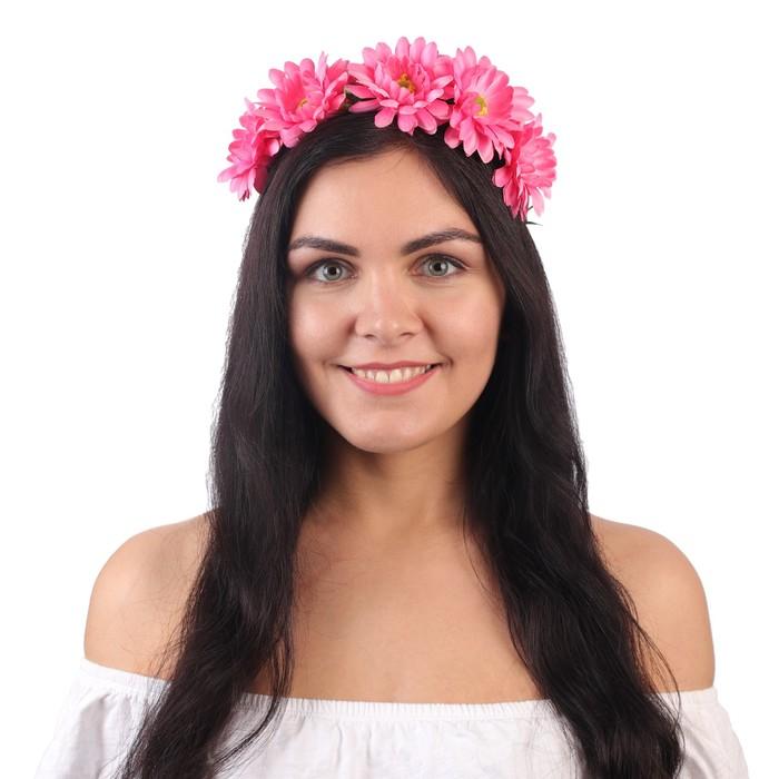 """Гавайский ободок """"Цветы"""", цвет коралловый"""