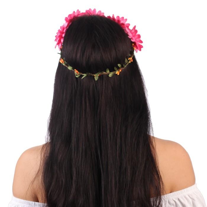 """Гавайский ободок """"Цветы"""", цвет коралловый - фото 419622416"""