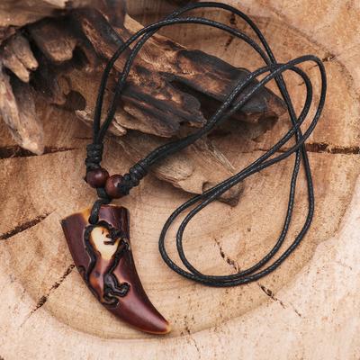 """Кулон мужской """"Клык"""" львиный длина 40-80см регулир-я, цвет коричнево-чёрный"""