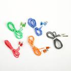 Провод для зарядки и передачи данных, USB-IPhone 5/6/7, 1 м, тканевая оплётка, МИКС