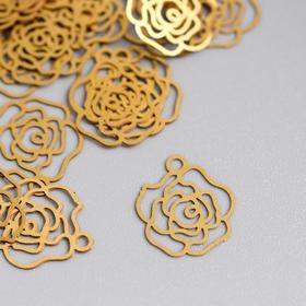 Декор для творчества металл 'Роза' золото 1,2х1,2 см Ош