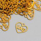 """Decor art metal """"Heart love"""" gold 1,1x0,8 cm"""