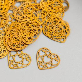 Декор для творчества металл 'Сердце из сердец' золото 1,4х1,4 см Ош