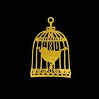 "Декор для творчества металл ""Птица в клетке"" золото 2,2х1,6 см"