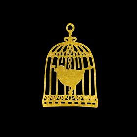 Декор для творчества металл 'Птица в клетке' золото 2,2х1,6 см Ош