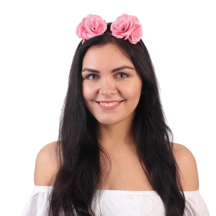 """Ободок гавайский """"Розовый розы"""""""