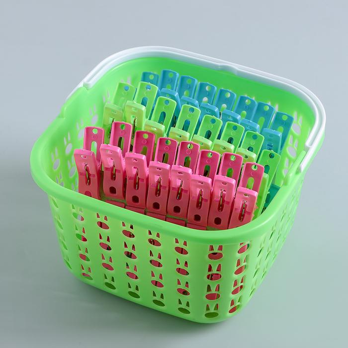 Набор прищепок в корзинке 5 см, 48 шт, цвет МИКС