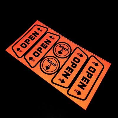 """Наклейка светоотражающая на авто """"Open"""", красный, набор 6шт"""