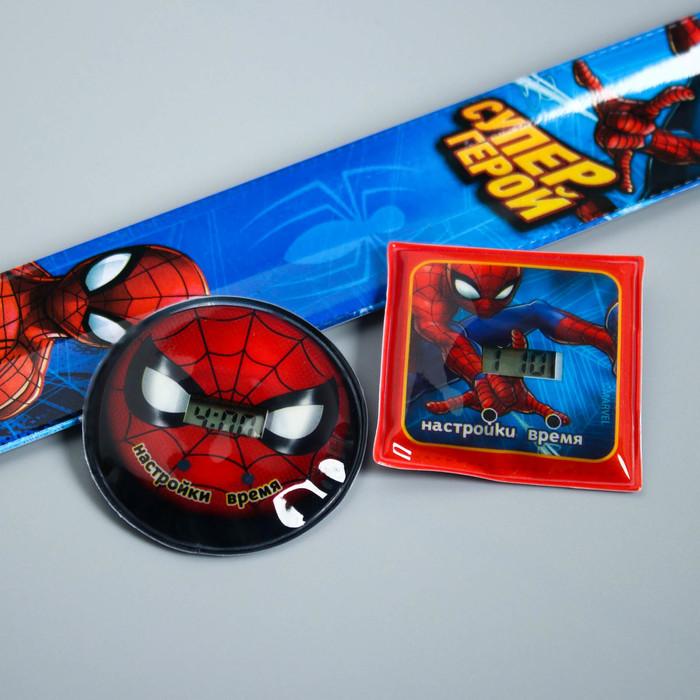 """Часы наручные электронные со сменным циферблатом """"Супер герой"""", Человек-паук 22,5 х 4,5 см"""