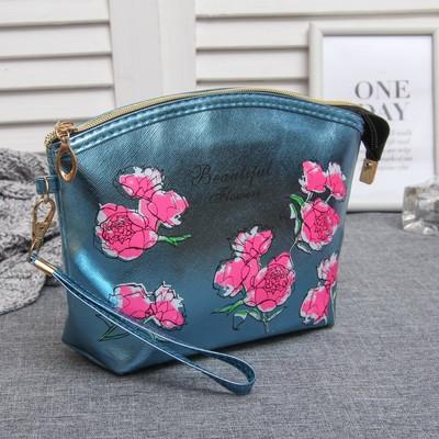 """Косметичка-сумочка на молнии """"Букет"""", 1 отдел, с ручкой, цвет бирюзовый"""