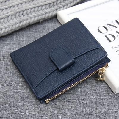 Кошелёк женский складной, 1 отдел, для монет, карт, наружный карман, цвет синий