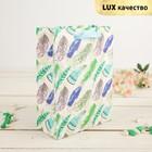 """Пакет подарочный """"Пёрышки"""", зелёный, 26 х 10 х 32 см"""