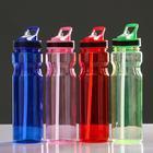 Бутылка для воды 750 мл, спортивная, с полосками под горлышком, с поильником, микс, 7х27 см