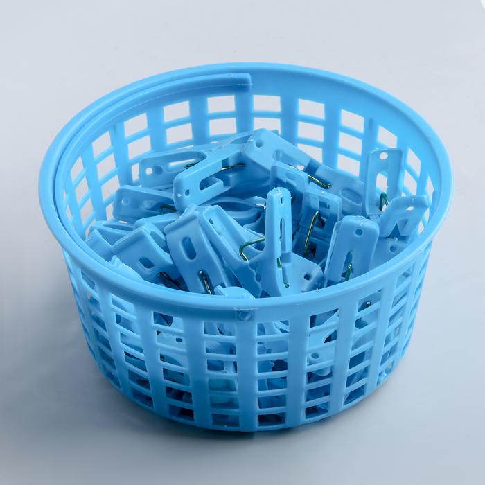Набор прищепок в корзинке 5 см, 24 шт, цвет МИКС