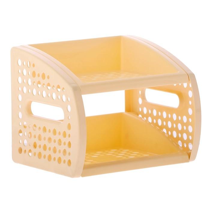Этажерка настольная 2-х секционная, цвет светло-жёлтый - фото 308328817